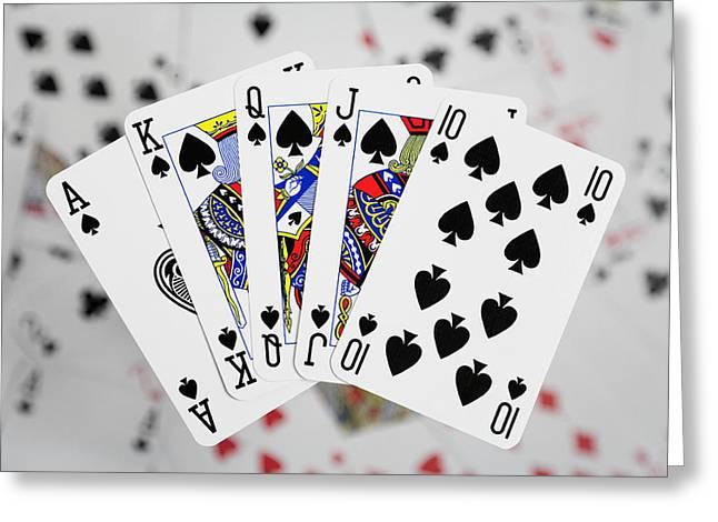 Playing Cards Greeting Cards - Playing Cards - Royal Flush Greeting Card by Natalie Kinnear