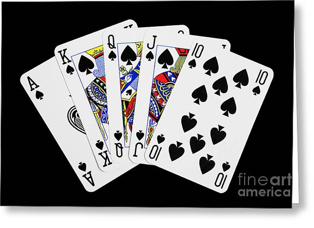 Playing Cards Digital Art Greeting Cards - Playing Cards Royal Flush on Black Background Greeting Card by Natalie Kinnear