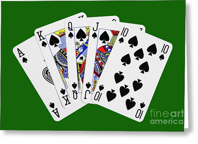Playing Digital Greeting Cards - Playing Cards Royal Flush on Green Background Greeting Card by Natalie Kinnear