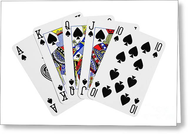 Playing Cards Greeting Cards - Playing Cards Royal Flush on White Background Greeting Card by Natalie Kinnear
