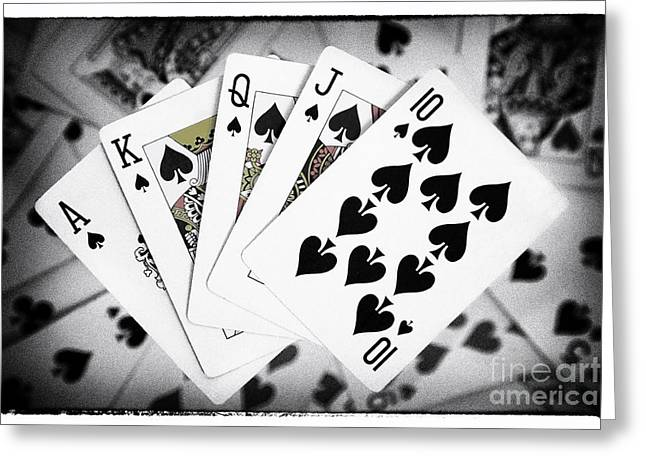 Playing Cards Greeting Cards - Playing Cards Royal Flush with Digital Border and Effects Greeting Card by Natalie Kinnear
