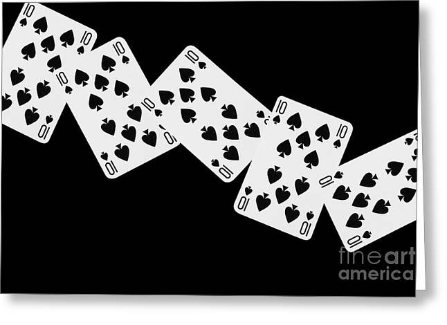 Playing Digital Art Greeting Cards - Playing Cards Ten of Spades on Black Background Greeting Card by Natalie Kinnear