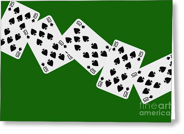 Playing Cards Greeting Cards - Playing Cards Ten of Spades on Green Background Greeting Card by Natalie Kinnear