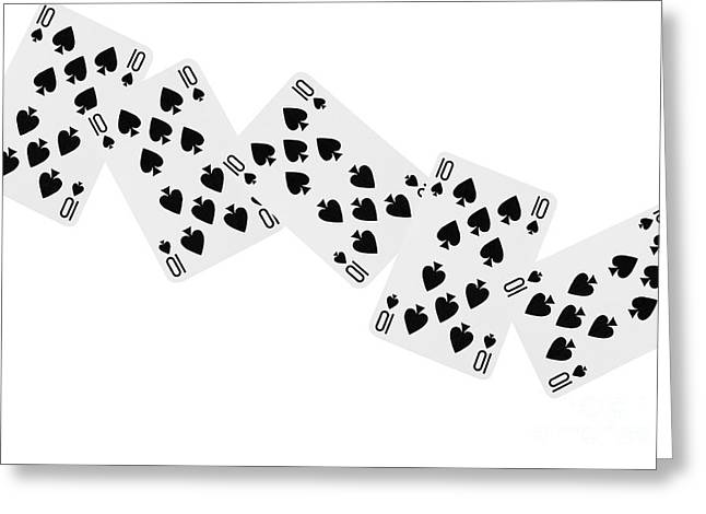 Playing Cards Greeting Cards - Playing Cards Ten of Spades on White Background Greeting Card by Natalie Kinnear
