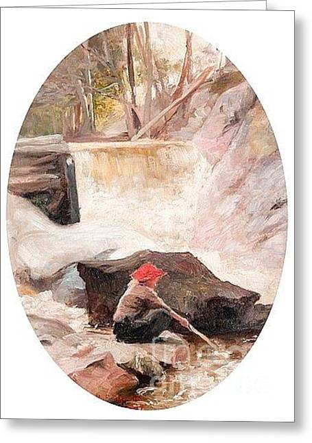 Oslo Greeting Cards - Playing Child By The River Greeting Card by Hanna Frosterus-Segerstrale