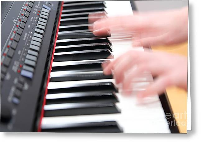 Playing Musical Instruments Greeting Cards - Playing electronic piano Greeting Card by Gregory DUBUS
