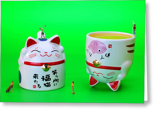 Ceramic Digital Greeting Cards - Playing golf on cat cups Greeting Card by Paul Ge