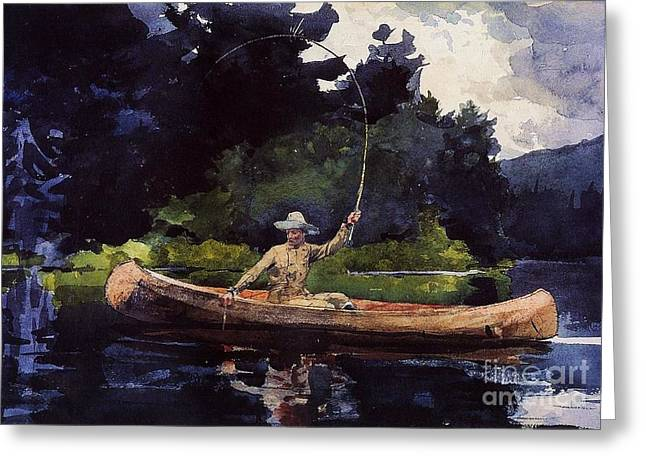 Canoe Paintings Greeting Cards - Playing Him Greeting Card by Pg Reproductions