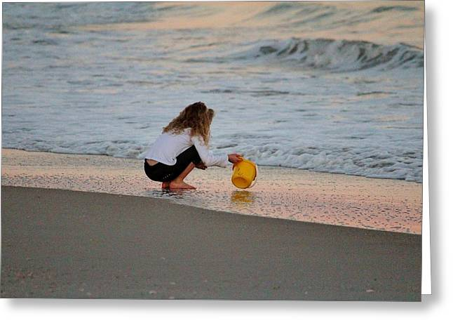 Playing In The Ocean Greeting Card by Cynthia Guinn