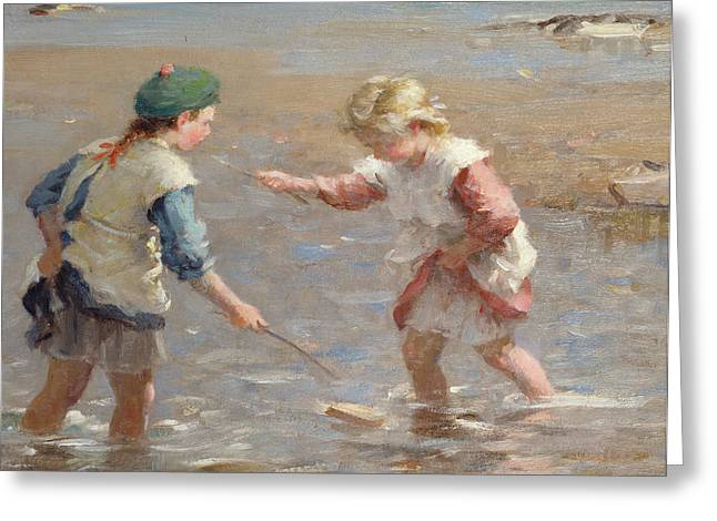 On The Beach Greeting Cards - Playing in the shallows Greeting Card by William Marshall Brown