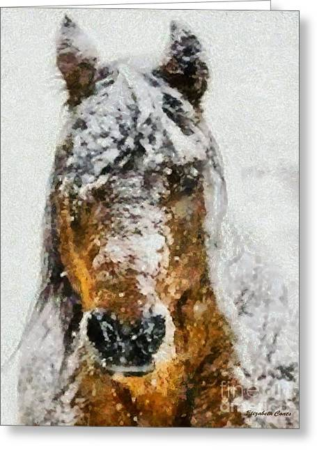 Snowstorm Prints Greeting Cards - Playing in the Snow Greeting Card by Elizabeth Coats