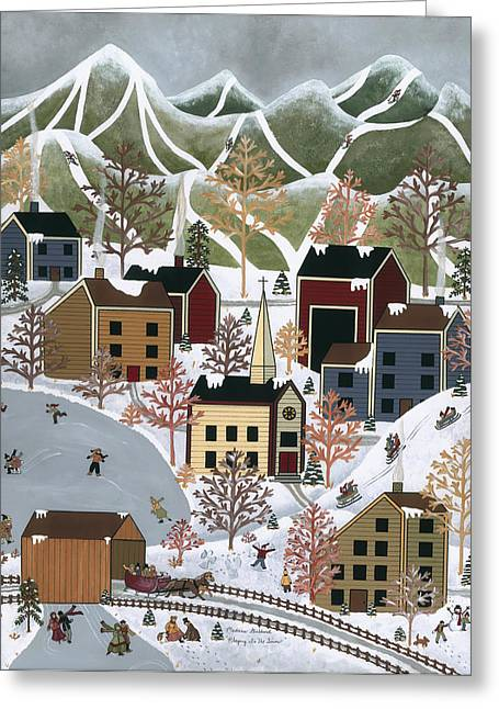 Skiing Prints Paintings Greeting Cards - Playing In The Snow Greeting Card by Medana Gabbard