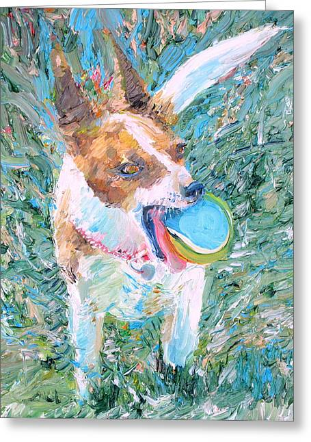 Dog Playing Ball Greeting Cards - Playing Is My Business...and The Business Is Good Greeting Card by Fabrizio Cassetta