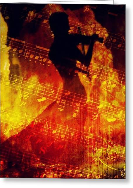 Violin Bows Violin Bows Greeting Cards - Playing just for you Greeting Card by Gun Legler