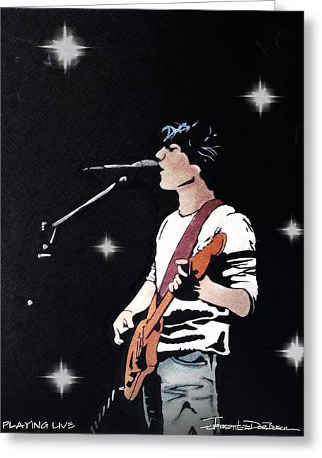 Bands On Stage Drawings Greeting Cards - Playing Live - Prisma Greeting Card by Jerrett Dornbusch