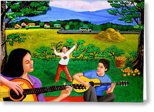 Maza Greeting Cards - Playing Melodies Under the Shade of Trees Greeting Card by Cyril Maza