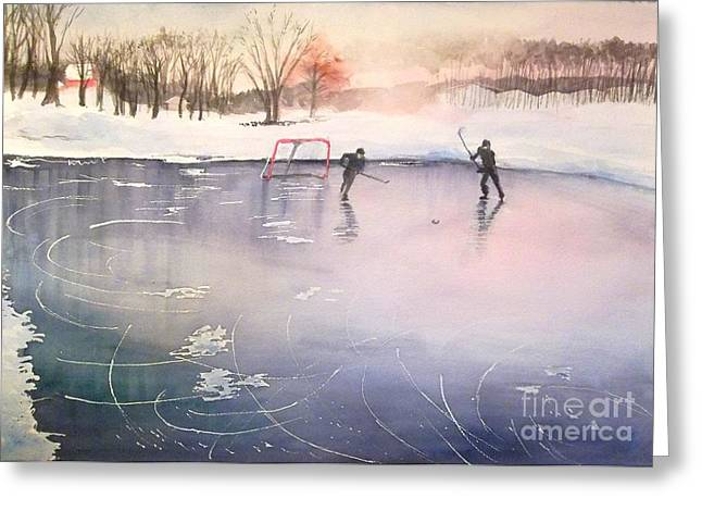 Hockey Paintings Greeting Cards - Playing on Ice Greeting Card by Yoshiko Mishina
