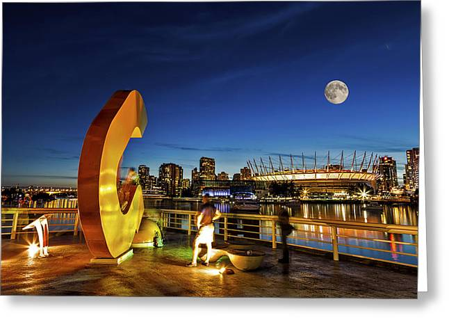 Vancouver Pyrography Greeting Cards - Playing outside under a full moon Greeting Card by Jack Vainer