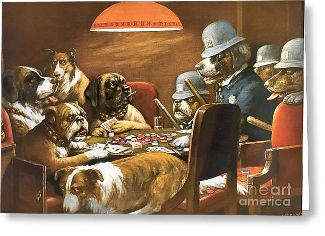 Playing Poker And Got Busted Greeting Card by Cassius Marcellus Coolidge