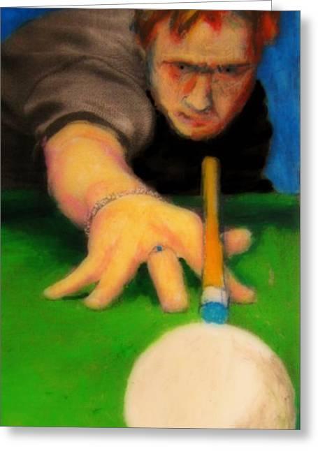 Billards Greeting Cards - Playing Pool Greeting Card by John Malone