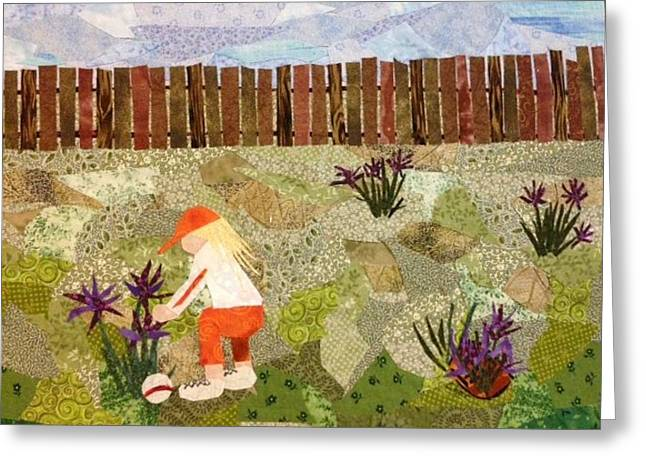 Fence Tapestries - Textiles Greeting Cards - Playing Right Field Greeting Card by Charlene White
