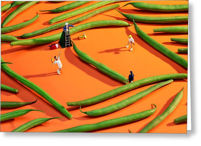 Tennis Match Greeting Cards - Playing tennis among french beans little people on food Greeting Card by Paul Ge