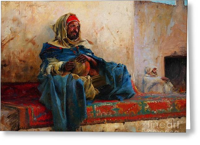 Sahara Sunlight Greeting Cards - Playing The Derbakeh Biskra Greeting Card by Charles James Theriat