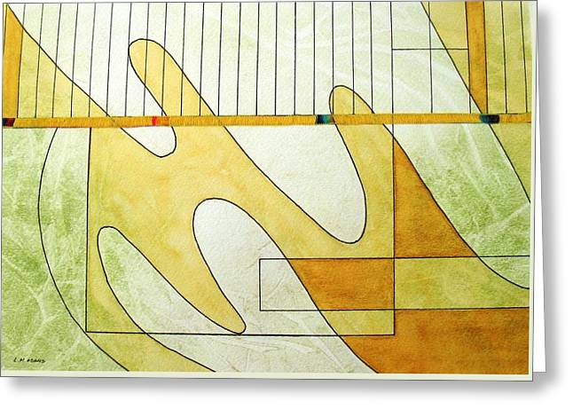 Green And Yellow Abstract Greeting Cards - Playing the Piano with Jerry Greeting Card by Louise Adams