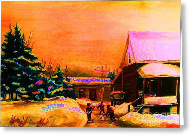 Children Playing Hockey Greeting Cards - Playing Until The Sun Sets Greeting Card by Carole Spandau