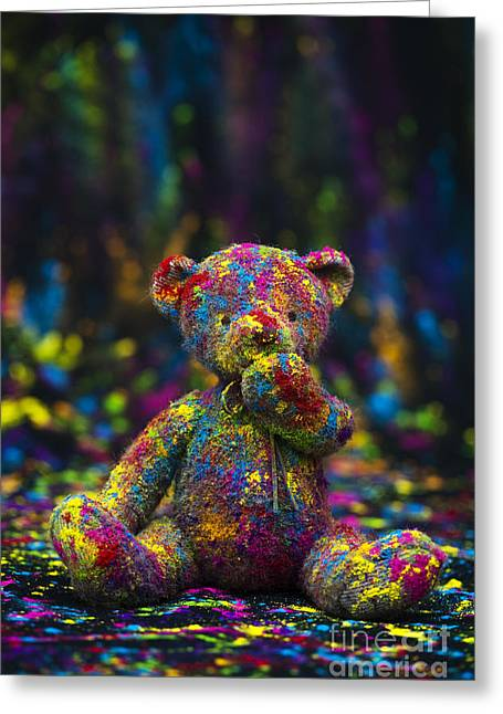 Spectrum Photographs Greeting Cards - Playing with coloured powder Greeting Card by Tim Gainey