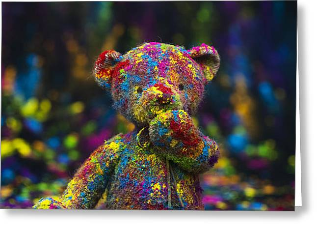 Playing with coloured powder Greeting Card by Tim Gainey