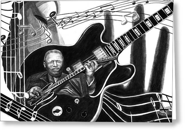 Playing Drawings Greeting Cards - Playing with Lucille - BB King Greeting Card by Peter Piatt