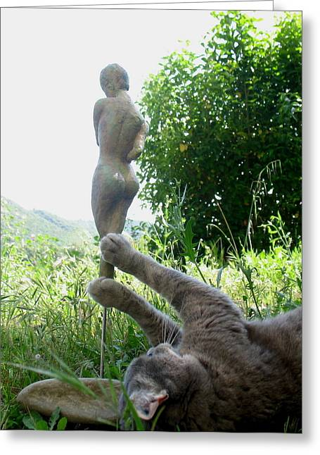 Nude Woman Torso Sculpture Greeting Cards - Playing with sculpture - 1 Greeting Card by Flow Fitzgerald