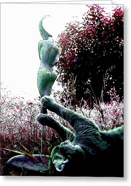 Nude Woman Torso Sculpture Greeting Cards - Playing with sculpture - 2 Greeting Card by Flow Fitzgerald