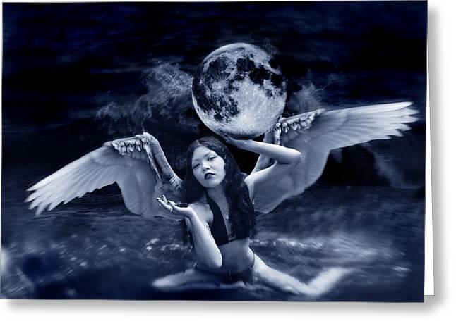 playing with the Moon Greeting Card by Mayumi  Yoshimaru