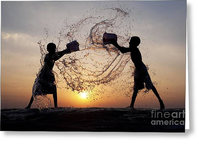 Cooling Greeting Cards - Playing with Water Greeting Card by Tim Gainey