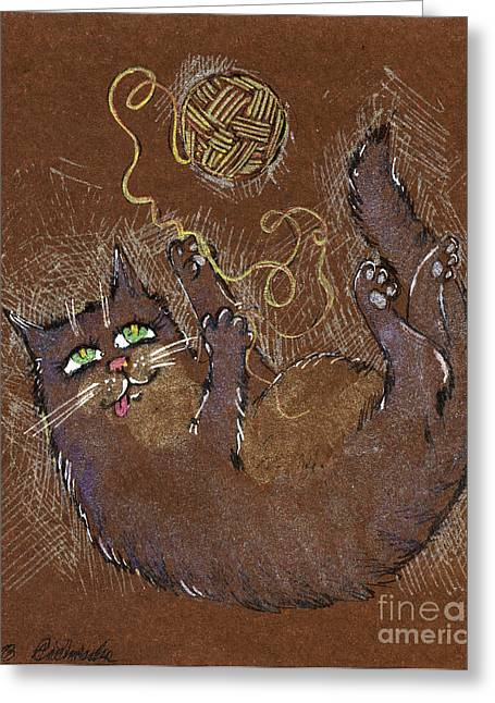 Cat Drawings Greeting Cards - Playing With Wool Greeting Card by Angel  Tarantella