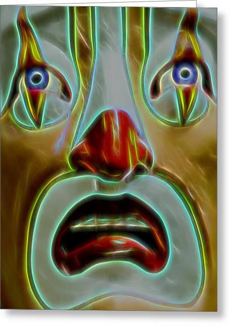 Bill Gallagher Digital Art Greeting Cards - Playland Clown Greeting Card by Bill Gallagher