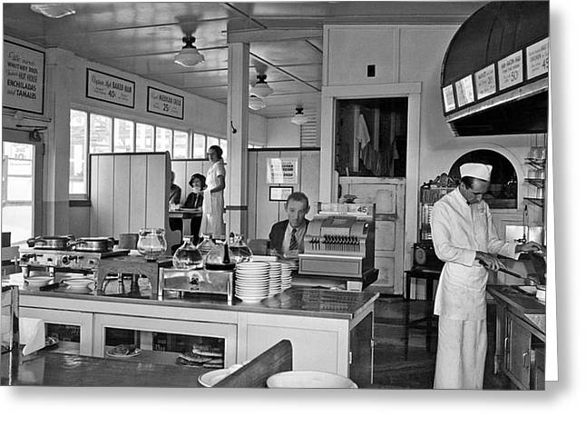 Playland Restaurant Interior Greeting Card by Underwood Archives