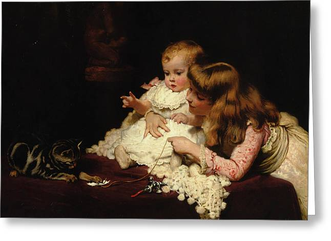 Two Young Girls Greeting Cards - Playmates Greeting Card by Charles Burton Barber