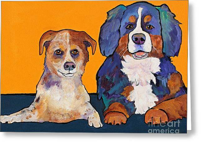 Cattle Dog Paintings Greeting Cards - Playmates Greeting Card by Pat Saunders-White
