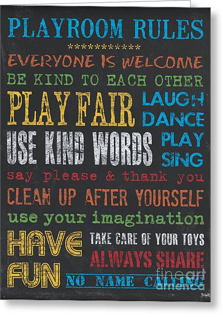 Youth Paintings Greeting Cards - Playroom Rules Greeting Card by Debbie DeWitt