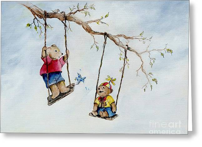 Child Swinging Paintings Greeting Cards - Playtime Greeting Card by Pamela Price