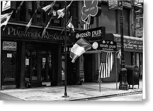 Playwright Greeting Cards - Playwright Irish Pub mono Greeting Card by John Rizzuto