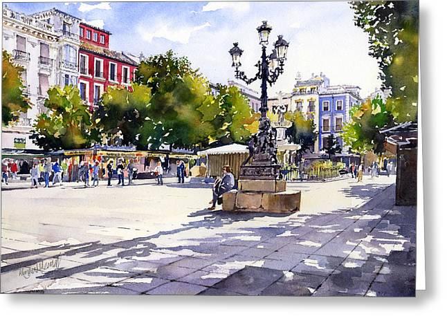 Plaza Bib Rambla Greeting Cards - Plaza Bib Rambla Granada Greeting Card by Margaret Merry