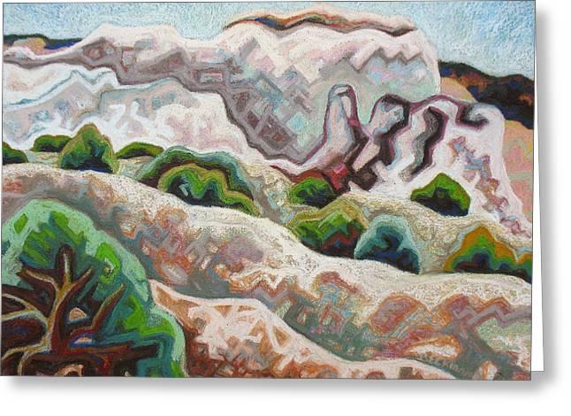 Santa Fe Pastels Greeting Cards - Plaza Blanca hills Greeting Card by Dale Beckman