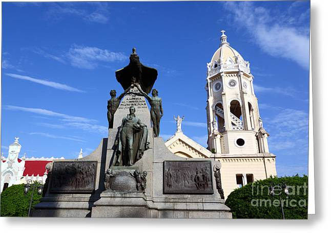 Simons Town Greeting Cards - Plaza Bolivar Panama City Greeting Card by James Brunker