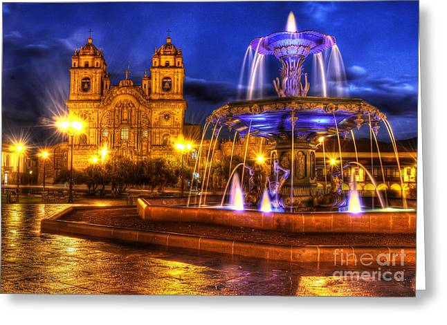 Plaza De Armas Cusco Greeting Card by Colin Woods