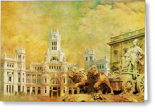 Cordoba Greeting Cards - Plaza de Cibeles City Hall Madrid Greeting Card by Catf