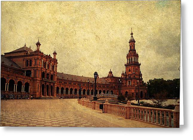 Historical Buildings Greeting Cards - Plaza de Espana 7. Seville Greeting Card by Jenny Rainbow